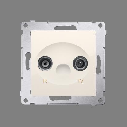 Antennendose R-TV Enddose cremeweiß matt Simon 54 Premium Kontakt Simon DAK.01/41