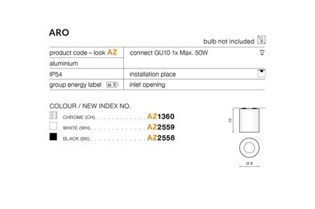 Aufbaustrahler ARO Modern Metall, Aluminium Schwarz Azzardo AZ2558