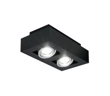 Aufbaustrahler Aufbauleuchte OSMIN 2 BLACK Deckenleuchte quadratisch doppelt schwarz-matt EDO777144 EDO