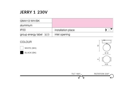 Aufbaustrahler JERRY 1 Modern Metall, Aluminium Schwarz Azzardo AZ1367