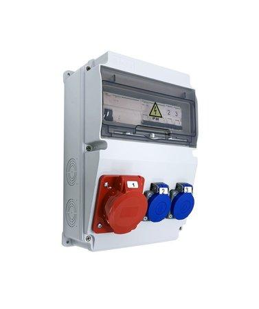 Baustromverteiler Komplett EDO ASTAT 296 PLUS IP65 16A/5P, 2x230V SCHUKO IP44 mit Schneider Sicherungen