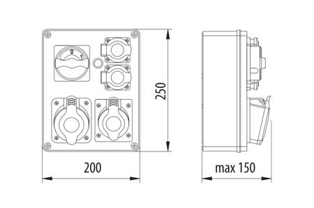 Baustromverteiler, Wandverteiler, Stromverteiler R-BOX 240 1x32A/4P, 1x16A/4P, 2x230V Schalter L-O-P B.1615W Pawbol