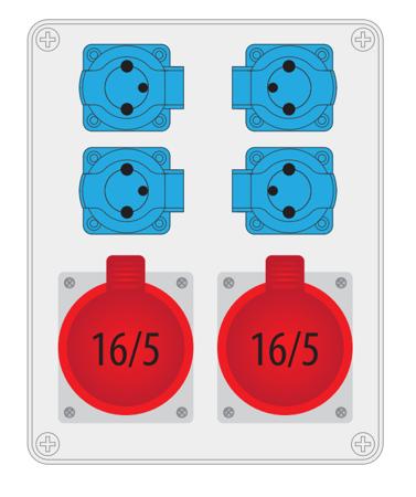 Baustromverteiler, Wandverteiler , Stromverteiler  R-BOX 240 2x16A/5P, 4x250V B.1096 Pawbol