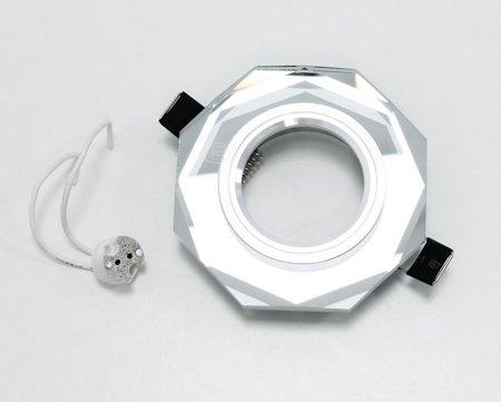 Deckeneinbauleuchte Deckenstrahler 1 achteckig Glas silber