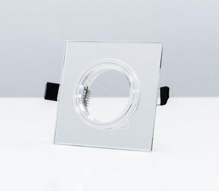 Deckenstrahler Einbaustrahler aus Glas silber eckig