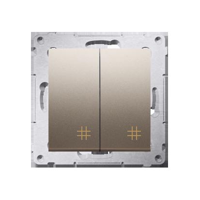Doppel- Kreuzschalter (Modul) mit Aufdruck Gold Kontakt Simon 54 Premium DW7/2.01/44