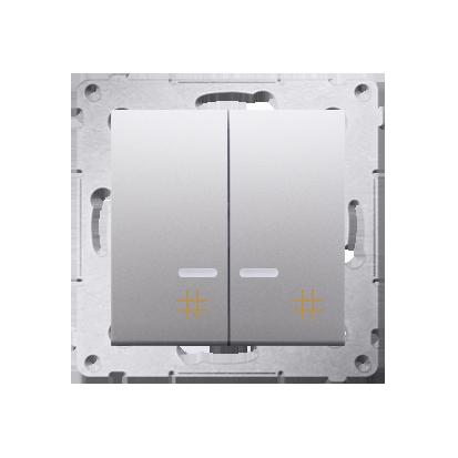 Doppel- Kreuzschalter (Modul) mit Aufdruck und LED Silber Kontakt Simon 54 Premium DW7/2L.01/43