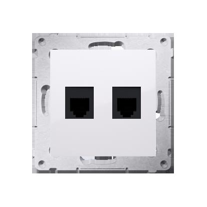 Doppel- Telefonsteckdose RJ12 (Modul) weiß glänzend Simon 54 Premium Kontakt Simon DT2.01/11
