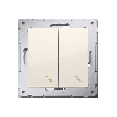 Doppel- Treppenschalter (Modul) mit Aufdruck cremeweiß Kontakt Simon 54 Premium DW6/2.01/41