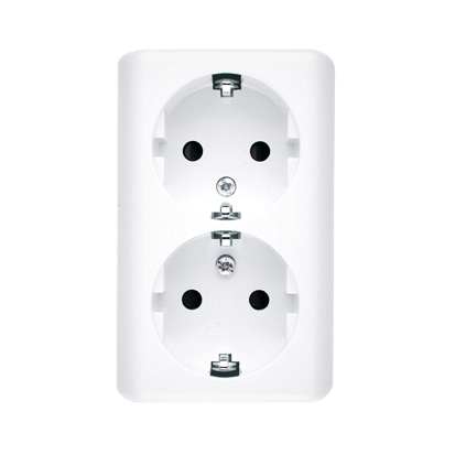 Doppelsteckdose SCHUKO Aufputz und weiß glänzend Kontakt Simon 54 Premium EGSZ2SNZ/11