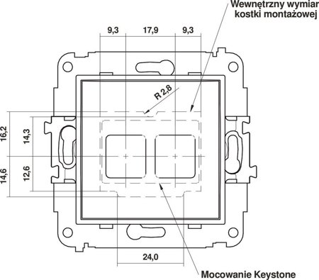 Doppelte Multimedia-Slot-Mechanismus ohne Modul (Keystone-Standard) graphit 11MGM-2P