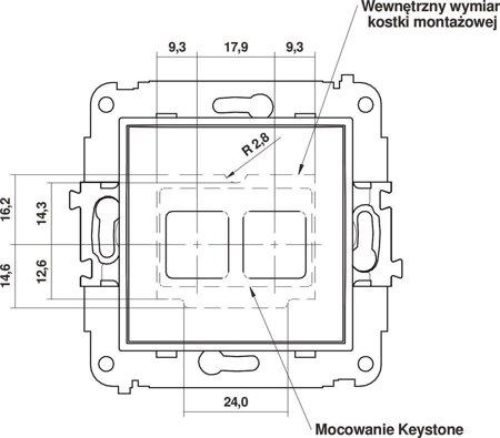 Doppelte Multimedia-Slot-Mechanismus ohne Modul (Keystone-Standard) grau matt 27MGM-2P