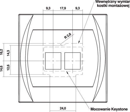 Doppelte Multimedia-Steckdose ohne Modul (Keystone-Standard) beige 1LGM-2P