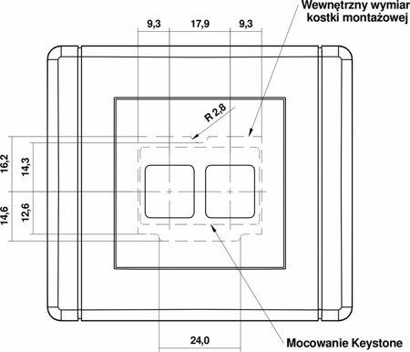 Doppelte Multimedia-Steckdose ohne Modul (Keystone-Standard) braun 9FGM-2P