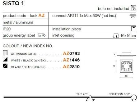 Einbaustrahler SISTO 1 Modern Metall, Aluminium Schwarz Azzardo AZ2810