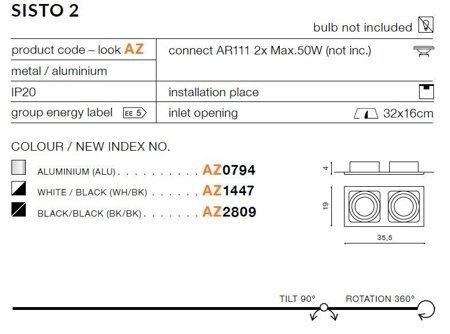 Einbaustrahler SISTO 2 Modern Metall, Aluminium Schwarz Azzardo AZ2809
