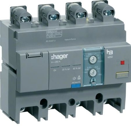 FI-Block Baugröße. 4polig 250A Idn, einstellbar HBB251H Hager