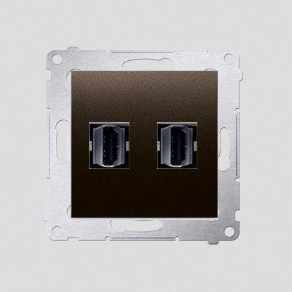 HDMI Anschlussdose Modul-Einsätze 2fach braun matt Simon 54 Premium Kontakt Simon DGHDMI2.01/46
