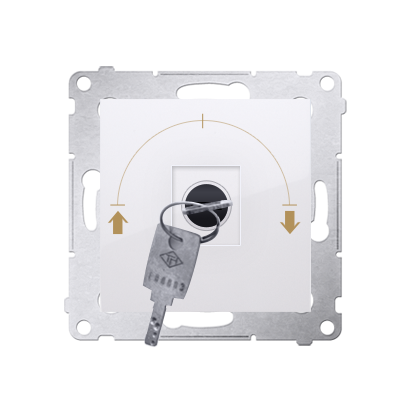 """Jalousie-Schlüsselschalter 1polig """"0-I-II"""" Weiß Kontakt Simon 54 Premium DPZK.01/11"""