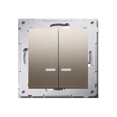 Kerzenschalter (Modul) 2x 1polig mit LED Gold IP44 Kontakt Simon 54 Premium DW5BL.01/44