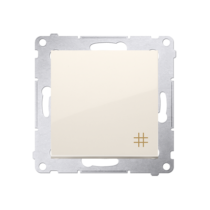 Kreuzschalter (Modul) mit Aufdruck und cremeweiß Kontakt Simon 54 Premium DW7A.01/41