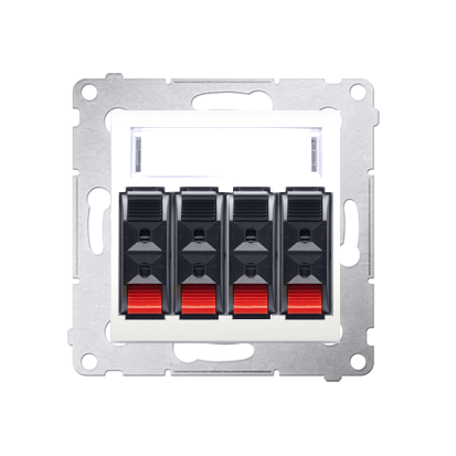 Lautsprecher Anschlussdose Modul-Einsätze 4fach cremeweiß matt Kontakt Simon 54 Premium DGL34.01/41
