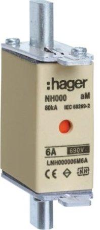 NH-Sicherungseinsatz  NH000 aM 690V 10A Kombimelder Grifflasche spannungsführend Hager LNH000010M6A