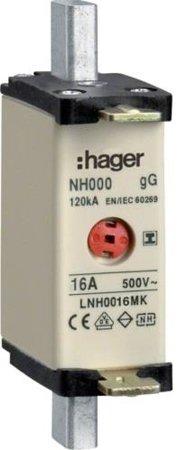 NH-Sicherungseinsatz NH000 gG 500V 16A Kombi-Melder mit isolierter-Grifflasche Hager LNH0016MK