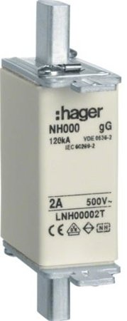 NH-Sicherungseinsatz NH000 gG 500V 32A Top-Melder Grifflasche spannungsführend Hager LNH00032T