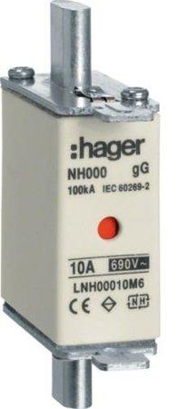 NH-Sicherungseinsatz  NH000 gG 690V 80A Kombimelder Grifflasche spannungsführend Hager LNH00080M6