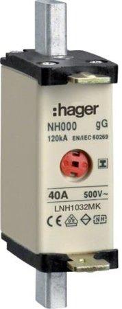 NH-Sicherungseinsatz NH1C gG 500V 32A mit isolierter Grifflasche Hager LNH1032MK