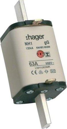 NH-Sicherungseinsatz NH1C gG 500V 63A Kombi- Melder mit isolierter  Grifflasche Hager LNH1063MK