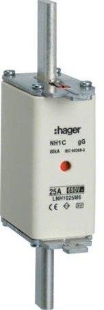NH-Sicherungseinsatz  NH1C gG 690V 50A Kombimelder Grifflasche spannungsführend Hager LNH1050M6