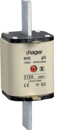 NH-Sicherungseinsatz NH2 gG 500V 315A Kombi- Melder mit isolierter Grifflasche Hager LNH2315MK