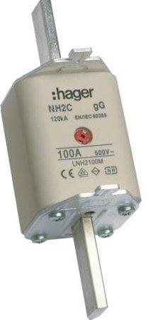 NH-Sicherungseinsatz NH2C gG 500V 100A Kombi- Melder Grifflasche spannungsführend Hager LNH2100M