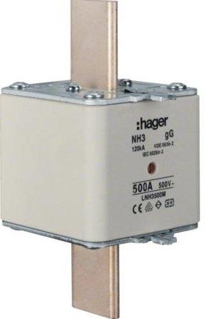 NH-Sicherungseinsatz NH3 gG 500V 500 Kombi- Melder Grifflasche spannungsführend Hager LNH3500M