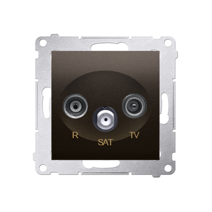 R-TV-SAT-Enddose Einsatz braun matt Simon 54 Premium Kontakt Simon DASK.01/46