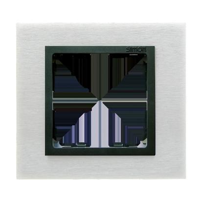 Rahmen 1fach Glas Inox matt/ Zwischenrahmen graphit Kontakt Simon 82 82817-31