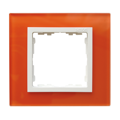 Rahmen 1fach Glas orange/ Zwischenrahmen weiß Kontakt Simon 82  82617-65