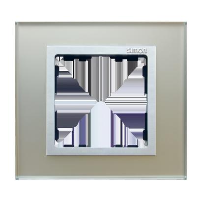 Rahmen 1fach Glas silber/ Zwischenrahmen  Aluminium matt Kontakt Simon 82 82917-62