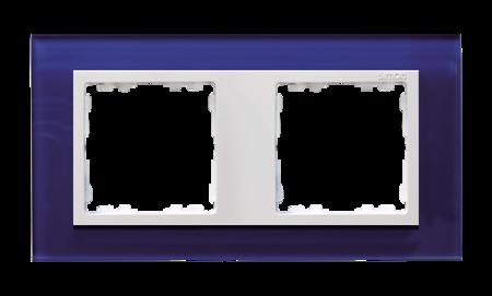 Rahmen 2fach Glas dunkelblau/ Zwischenrahmen weiß Kontakt Simon 82  82627-64