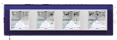 Rahmen 4fach Glas dunkelblau/ Zwischenrahmen weiß Kontakt Simon 82  82647-64