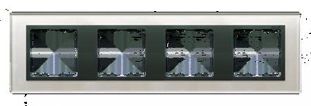 Rahmen 4fach Glas silber/ Zwischenrahmen graphit Kontakt Simon 82 82847-35