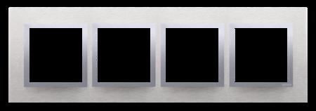 Rahmen 4fach Inox  matt Metall  Kontakt Simon 54 Nature DRN4/77