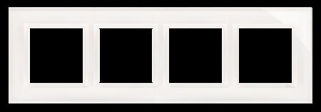 Rahmen 4fach perlweiß glänzend Glas Kontakt Simon 54 Nature DRN4/70