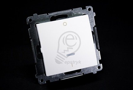 Schalter zweipolig mit LED und Aufdruck Weiß Kontakt Simon 54 Premium DW2L.01/11