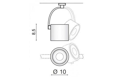 Schienenlampe Costa ARM Modern Metall, Aluminium Schwarz Azzardo AZ2702