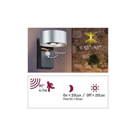 Strahler CONE Wandleuchte SENSOR LED 2x6W 3000K 30-90° - Silber/Anthrazit Paulmann PL79677