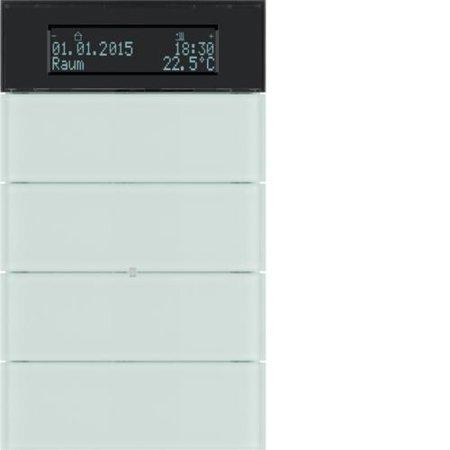 Tastsensor 4fach mit Temperaturregler und Display B.IQ Glas, polarweiß Hager 75664590