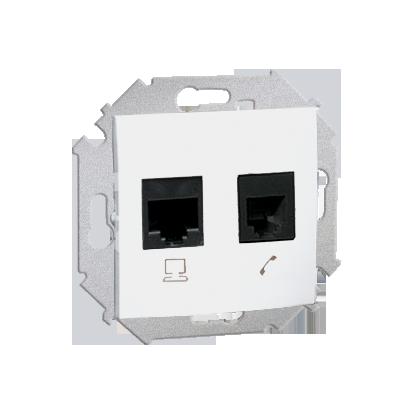 Telefonsteckdose (Modul) RJ12 + Computersteckdose RJ45 Kat. 6 Weiß Kontakt Simon 1591542-030